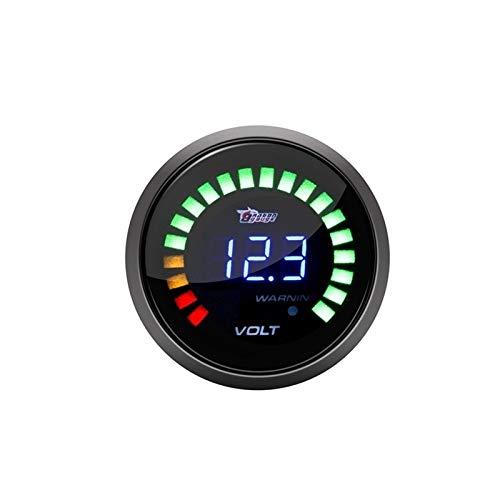 Auoeer 2 Pulgadas de 52mm de Coches Modificación del medidor tacómetro BLU-Ray Digital Display Shell Negro Indicador de presión, Manómetro de Aceite, voltímetro (Color : Voltmeter)