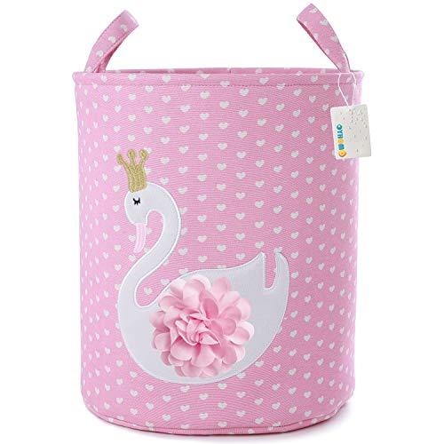 OYHOMO Wäschekorb Kinder Aufbewahrungskorb Faltbare Stoff Wäschesack Große Runde Aufbewahrungsbox Tier Spielzeugkiste für Kinderzimmer (Herz Schwan)