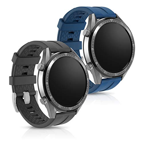 kwmobile Pulsera Compatible con Huawei Watch GT (46mm) - 2X Correa de TPU para Reloj Inteligente - Negro/Azul Oscuro