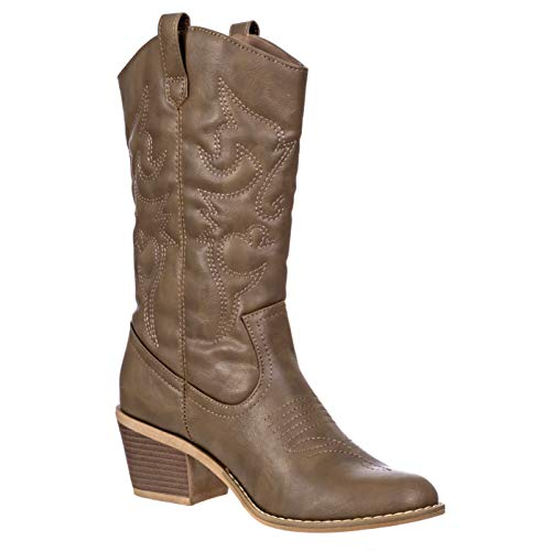 Charles Albert Women's Embroidered Modern Western Cowboy Boot in Mocha Size: 10