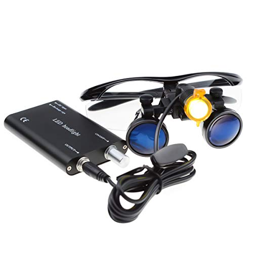 3.5×420mm Surgical Medical Binocular Loupes Optical Glasses with Filter 3W LED Headlight Lamp + Aluminum Box for Dental, Surgical, Jeweler, or Hobby | Adjustable Pupil Distance (Black)