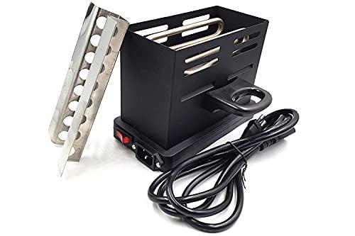 Babos Tostadora eléctrica, color negro, encendedor de carbón para shisha con mango y protección de rejilla, 800 W, 230 V, encendedor de carbón, estufa de carbón, sistema de calor de tres lados