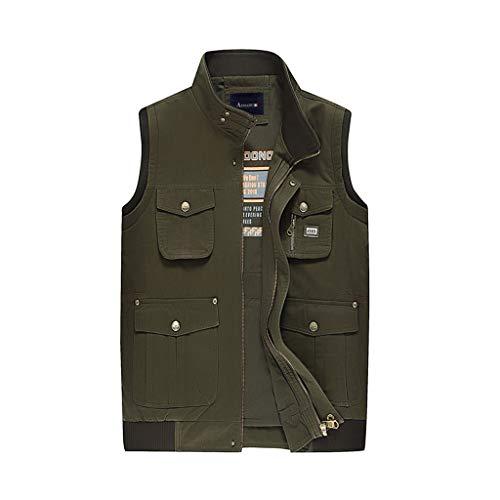 Weste Herren Outdoor Weste Baumwolle Angelweste Multi-Pocket Weste Komfort Mantel (Farbe : Armeegrün, größe : M)