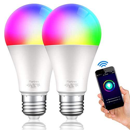 Plartree Bombilla LED Inteligente WiFi, 2 Paquetes 10W E27 Lámpara 2700K-6500K RGB Multicolor Compatible con Alexa, Echo, Google Home, E27 2700K-6500K RGB, Control por Aplicación