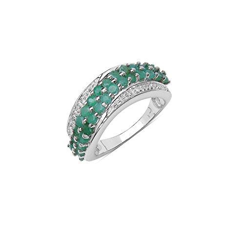 Silvancé - Damen Ring - 925 Silber, rhodiniert - echter Edelstein: Smaragd ca. 1.18ct. - R1365E_SSR / Gr. 60 (19.1)
