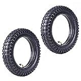 2 Juegos de 12,5 x 2,75 (12-1 / 2x2,75) neumáticos y Tubos Interiores con Nudos de Servicio Pesado con vástago tr87 doblado de Repuesto para Motos de Bolsillo Razor MX350 MX400 Dirt X-560 Scooter