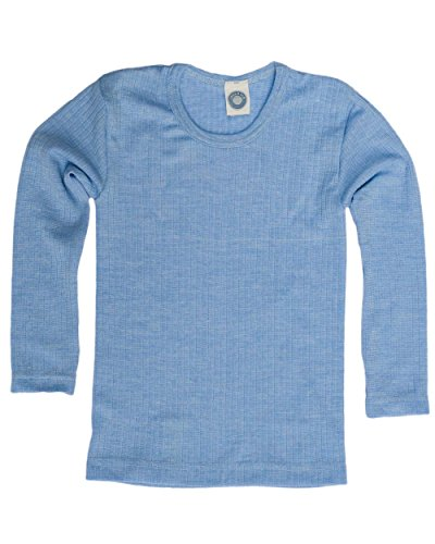 Cosilana, Kinder Unterhemd langarm, 45% kbA Baumwolle, 35% kbT Wolle, 20% Seide (104, Blau meliert)