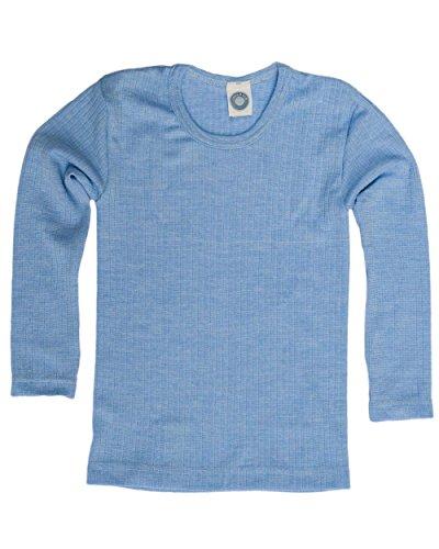 Cosilana, Kinder Unterhemd Langarm, 45% KBA Baumwolle, 35% kbT Wolle, 20% Seide (116, Blau meliert)