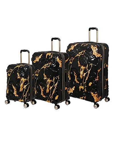 it luggage Skulls II 3 Piece Hardside Expandable Set, Black Golden Marble