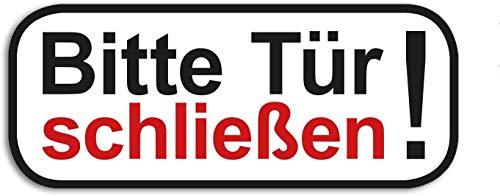 Aufkleber Bitte Tür schließen! Hinweis Warn Schild 9x4cm, schwarz/weiß/rot Made in Germany by MBS-SIGNS