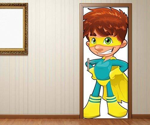 Türaufkleber Kinderzimmer Cartoon Junge Superman Held Superheld Tür Folie Bild Türposter Türfolie Türtapete Türbild selbstklebend bunt Druck Aufkleber sticker 15B134, Türgrösse:90cmx200cm