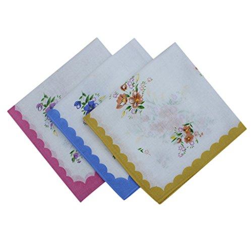 Bonarty 12x Damen Blumen Taschentücher Kosmetiktücher Stofftaschentücher 30 x 30cm für Alltagsgebrauch - Farbe1, one size