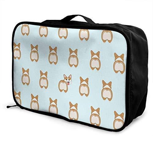 Qurbet Reisetaschen,Reisetasche, Portable Luggage Duffel Bag Cute Corgi Travel Bags Carry-on in Trolley Handle