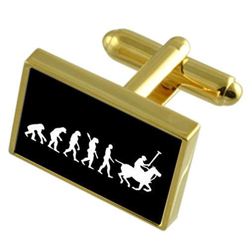 Select Gifts Évolution à l'homme singe Polo Gold-tone de manchette pochette noire