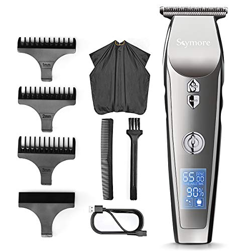 Skymore Hair Clipper Beard Trimmer Kit, Men Electric Cordless Hair Mustache Trimmer Shaver With LCD Display, USB Rechargeable 3 in 1 Multifunction Comb Attachment, Nose Ear Body Groomer for Travel
