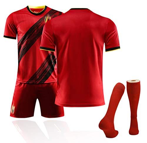 Belgien Trikot 10# Hazard 7# De Bruyne Fußballtrikots Für den Europapokal 2020 Trikot der belgischen Fußballfans, Trainingsuniformen mit Fußballsocken Custom- Blank-M