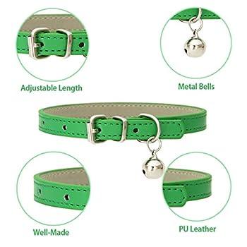 Lot de 8 colliers pour chat en cuir avec clochettes et boucles en métal poli durable et réglable, faits à la main