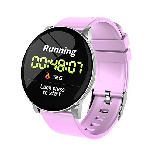 GYY Brazalete Inteligente Reloj Inteligente Recordatorio De Llamada Impermeable Ritmo Cardíaco Monitor El Tiempo Pronosticado Fitness Watch Bluetooth (Color : Pink Silicone Strap)