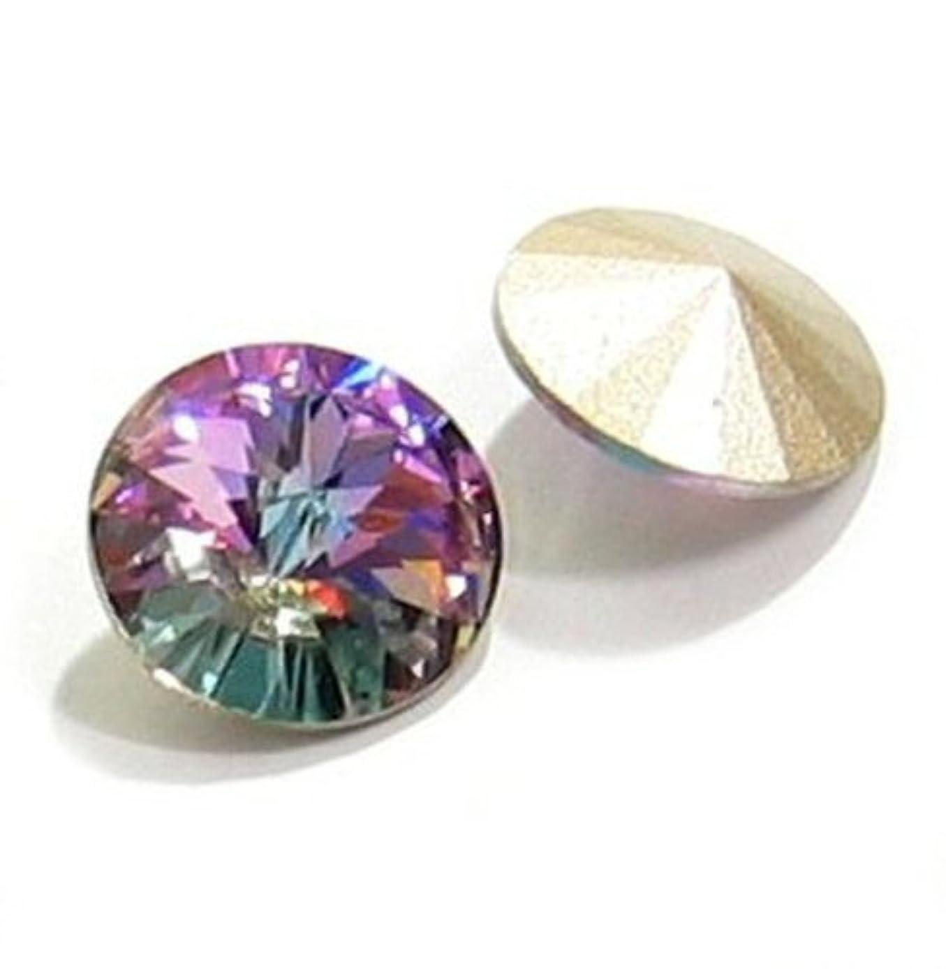 2 pcs Swarovski 1122 Crystal Round Rivoli Stone Silver Foiled Vitrail Light 14mm / Findings / Crystallized Element