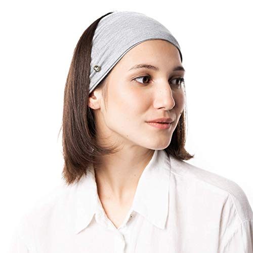 BLOM Original Multi Style Headband. Women Yoga Fashion Workout Running Athletic Travel. Wear Wide Turban Thick Knotted. Comfort Stretch Versatility. (Gray Marl)