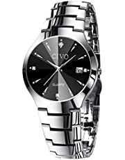 [チーヴォ]CIVO 腕時計メンズ ステンレススチール防水ウオッチ アナログクオーツ時計 日付カレンダー シンプルデザイン おしゃれ ファッション ビジネス カジュアル男性腕時計