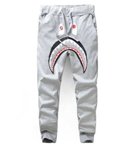 Men 3D Shark Print Pants Jogging Pants Tracksuit Training Running Trousers (M, Grey)