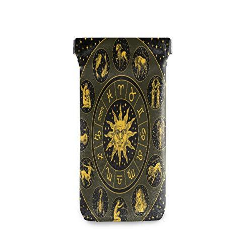 ALARGE Funda para gafas de sol con diseño de astrología del zodiaco en círculo maya, portátil, funda para gafas de sol, funda de piel sintética suave, para niños, hombres y mujeres