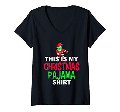 Womens Santa Floss Dance Pajama Shirt | Dancing Santa PJ V-Neck T-Shirt