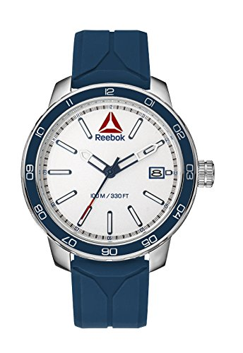 Reebok Forge 1.0 Herren-Armbanduhr RD-FOR-G3-S1IN-WR Analog Japanisch Quarz Edelstahl Blau mit blauem Silikonband