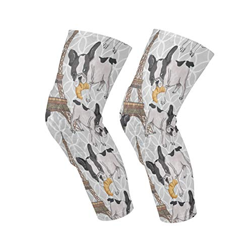Knee Pads French Bulldog Eiffel Tower Knee Sleeves, Knee Support, Elbow Pads, Shin Pads, Knee Brace for Volleyball, Basketball, Footbal, Yoga, Sports, Youth & Adult Sizes, for Women Men 1 Pair