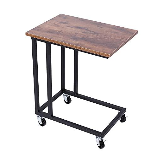 BLADO Mobiler Beistelltisch Sofa Beistelltisch C-Form Laptoptisch Couchtisch Industrie-Stil Bettseitentisch mit Metallrahmen und Rollrollen