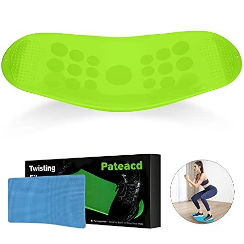 Pateacd Tabla de equilibrio Twist Sport Fitness para adultos y niños, yoga, entrenamiento fisioterapia, dispositivos fitness casa, abdominales piernas, cuerpo entero, color verde