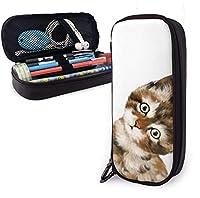 赤ちゃん猫鉛筆ケースホルダー大容量鉛筆ポーチ文房具オーガナイザージッパー付き学校オフィス、多機能化粧品化粧バッグ