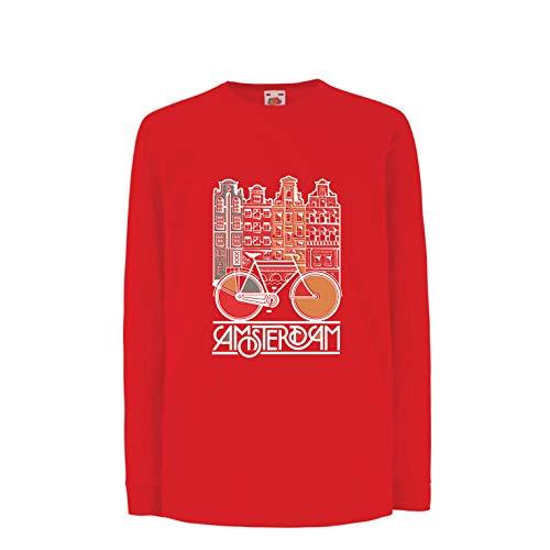 lepni.me Kids T-Shirt Vintage Bike Amsterdam Stad Nederland Vakantie Reizen