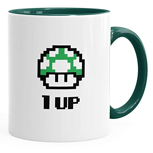 Kaffee-Tasse Geburtstag Retro Pixel-Pilz 1-Up-Pilz Level-Up Gaming Konsole 90er MoonWorks® grün unisize