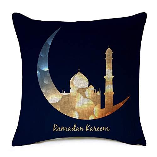 QPOWY Funda de cojín Ramadan Kareem Gold Moon Star Eid Mubarak Funda de Almohada Beige Ropa de Dormitorio de algodón de Lino Fino