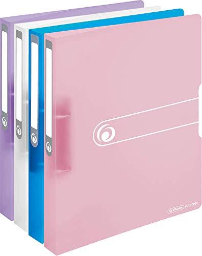 Herlitz Ringbuch, A4, 2 Ringe, 3,8 cm, Füllhöhe 25 mm, PP-Folie, transparent (Sortiert/Pastell, 25 mm   4er Set)