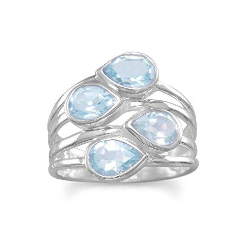 JewelryWeb Mujer 0.925 plata de ley pera Blue Topaz