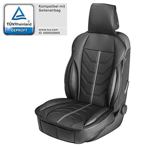 Walser 13985 Autositzauflage Kimi, Universelle Sitzauflage und Schutzunterlage in schwarz - grau, Sitzschoner für Pkw und LKW in Rennsportoptik