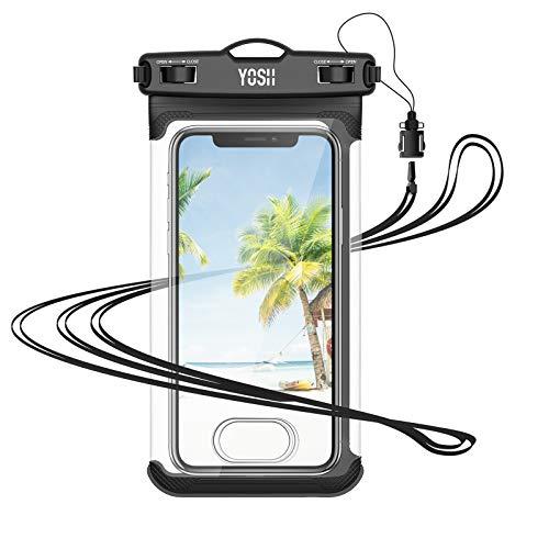 YOSH Funda Impermeable Móvil IPX8, Bolsa para Móvil Estanca a Prueba de Agua para iPhone 12 Pro MAX 11 XR X MAX Galaxy Note 20 S20 Ultra Xiaomi Poco X Note 9 Huawei Mate40 Pro hasta 7.5''