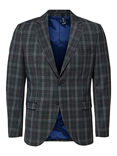 SELECTED HOMME Slhslim-Myloport Check BLZ B Noos Blazer, Grigio (Grey Checks:Blue), 46 IT Uomo