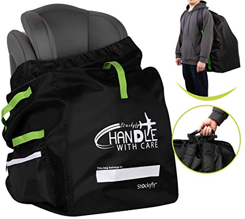 Car Seat Travel Bag with Pouch – Black – Adjustable Straps Backpack – Gate Check Bag for Car Seats for Air Travel with Baby – Protector Cover Infant Carriers & Boosters (Green Straps)