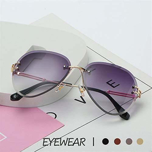 NZHK Sin Montura Gafas de Sol del Metal de Las Mujeres Marca de diseño Gafas de Sol Sombras de gradiente de Corte Lente de Las señoras del Conductor Gafas UV400 Gafas de Sol polarizadas (Color : A)