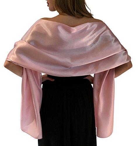 Central Chic Silky Satin stola dell'involucro dello scialle sciarpa Pashmina per la sposa damigelle in Avorio Bianco Nero Blu Argento Oro Rosa Grigio Verde (L-XL, Rosa chiaro)