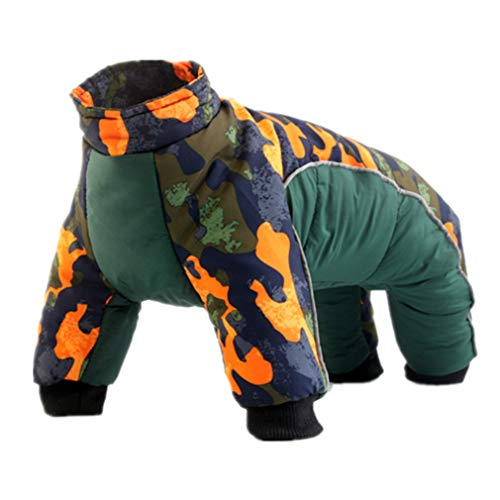 Dog Waterproof Coats Warm Jackets Snowsuit Small Puppy Clothing for French Bulldog Dogs (XL, Green)