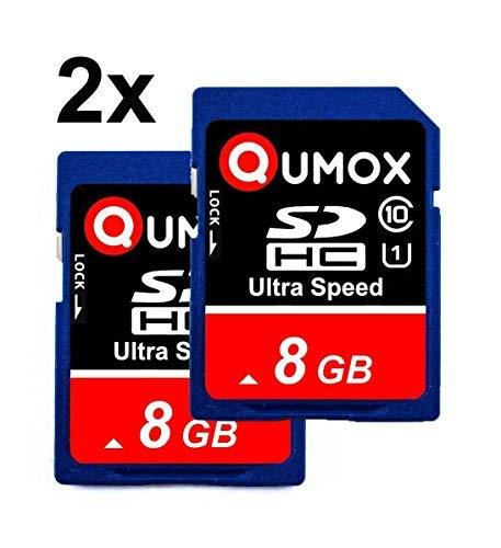 QUMOX 8GB Classe 10 UHS-I (U1) 2 pezzi Pack