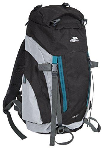 Trespass Trek 33, Ash, Backpack / Rucksack 33L with Built-In Rain Cover, Grey