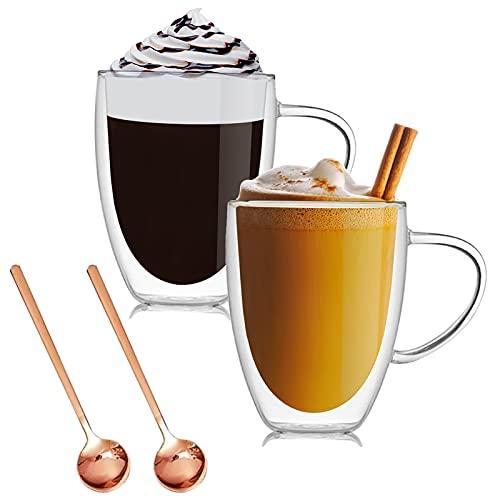 Doppelwandige Gläser Latte Macchiato Gläser Set mit Henkel,Trinkgläser Kaffeeglas, Durchsichtige Tassen, Kaffee, Cocktail, Espresso, Latte, Macchiato, Cappuccino (350ml(2er Set))