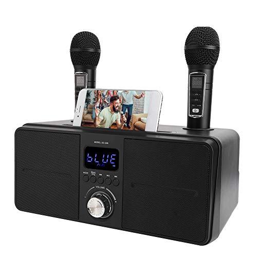 Kit KTV Altoparlante Karaoke Bluetooth, Attrezzatura Karaoke con doppio microfono per la casa, Videocamera multifunzione USB universale AUX per telefono/tablet/PC, 2 microfoni karaoke wireless(Nero)