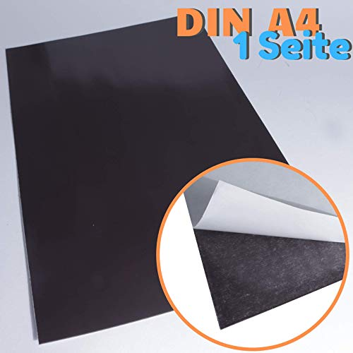 Magnetfolie DIN A4 Selbstklebend - Magnetband - Eisenfolie Magnet Eisen Folie zum Beschriften zum Schneiden Stanzen und Basteln [1 Stück] (Schwarz)